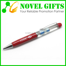 Promotion Custom Metal Ballpoint Pen with Floating Oil Sand Clock