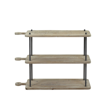 Antique Style Industrial 3 Shelf Console Table, Wood Top Metal Brace Console  Table