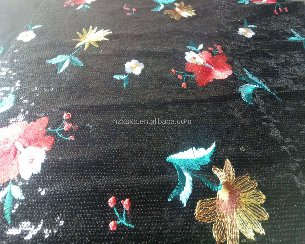 Fashion polyester multi color shiny sequin embroidery fabric with sequins