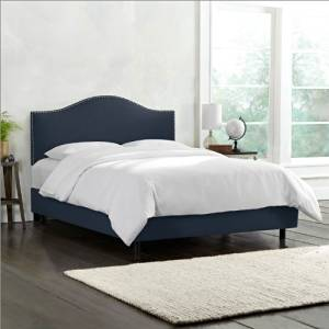 Skyline Furniture Nail Button Bed Frame in Upholstered Linen King Navy