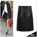 Autumn newest design hot product pu leather fashion a-line pencil skirt
