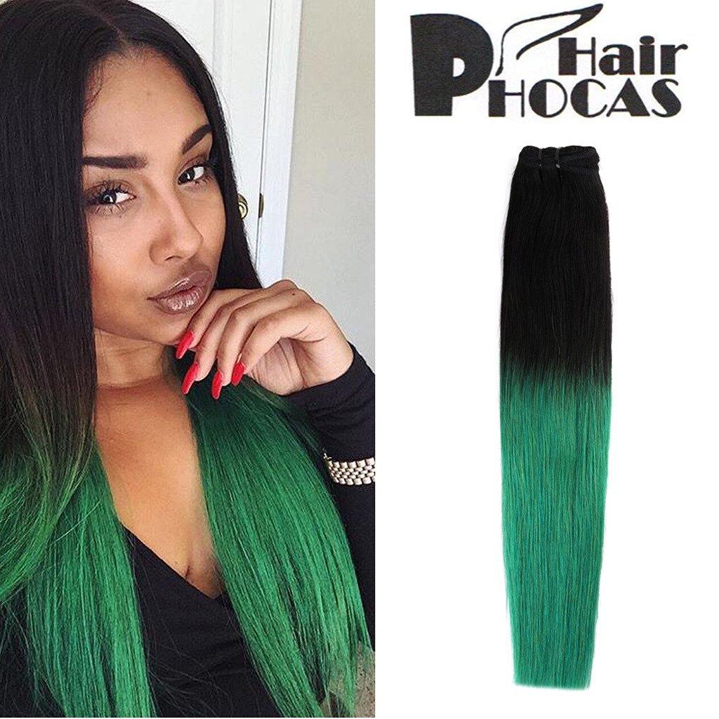 Buy Hairphocas 100 Brazilian Human Hair Weave Black To Green 2 Tone