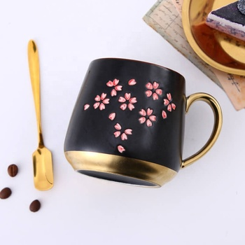 400ml 14 oz black and gold japanese Sakura vintage coffee mugs