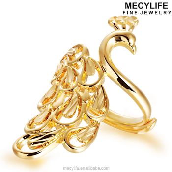 Mecylife Dubai Gold Jewelry Fashion 18k Gold Peacock Design Ring
