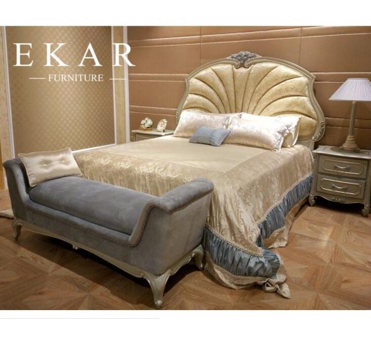 Luxury Bedroom Set Shell Shaped Headboard Italian Bed Room Furniture
