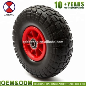 manufactory wholesale price10'' 3.00/3.50/4.10-4 plastic rim small solid pu foam wheel for wagon cart wheelbarrow hand trolley