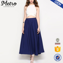 Women Long Pleated Plain Elegant Maxi Skirt