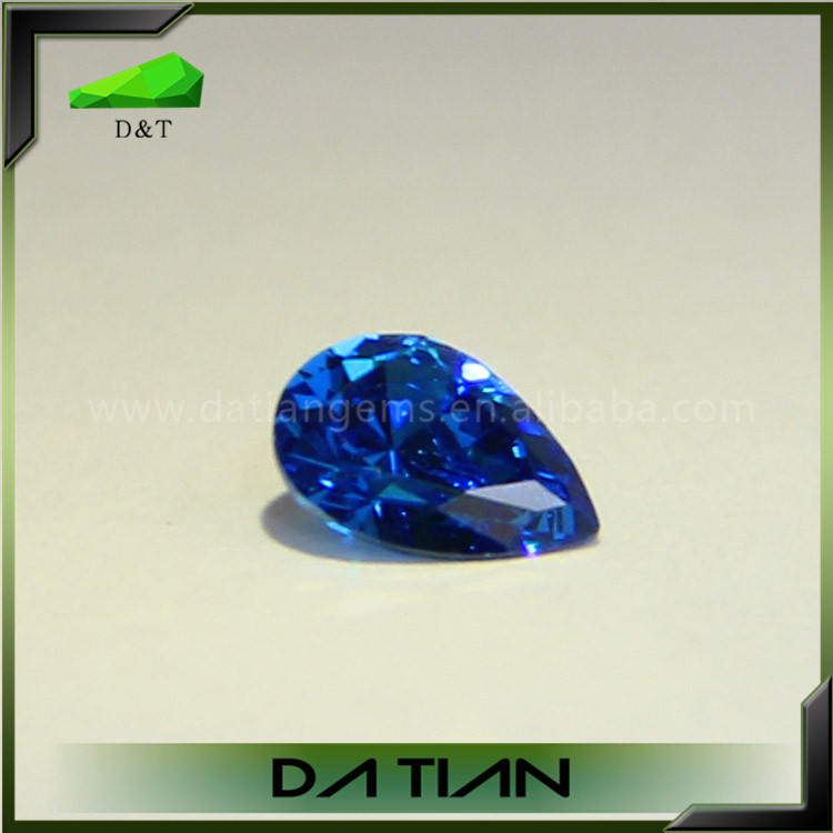 Synthetic colored stones pear cut blue cz stone cubic zirconia