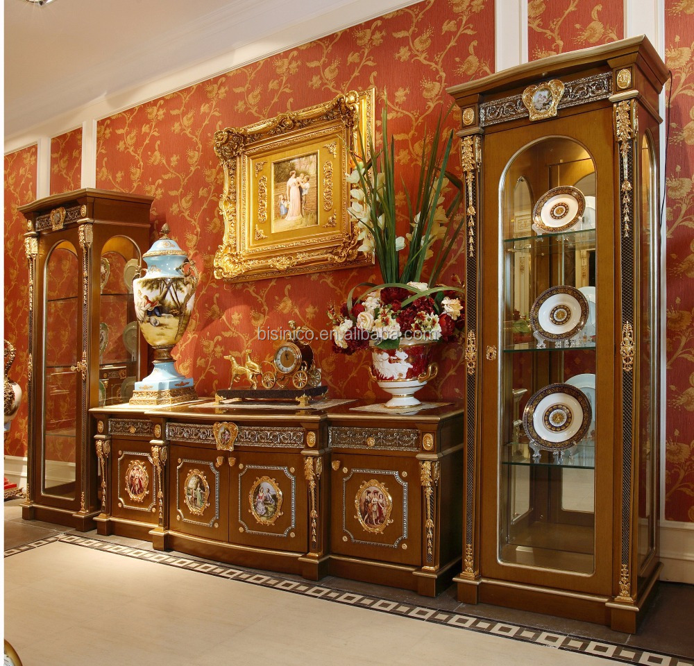 Louis xv living room furniture - French Louis Xv Style Golden Wood Carving Tv Cabinet With Showcase Classic Royal Living Room