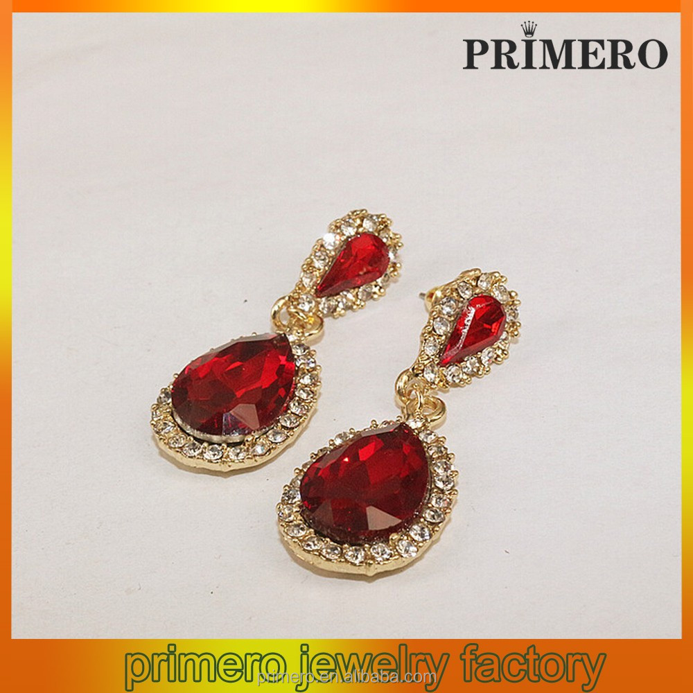 Noble fashion brand crystal earrings Finds Classic Ruby Red Oval Crystal Dangle Earrings
