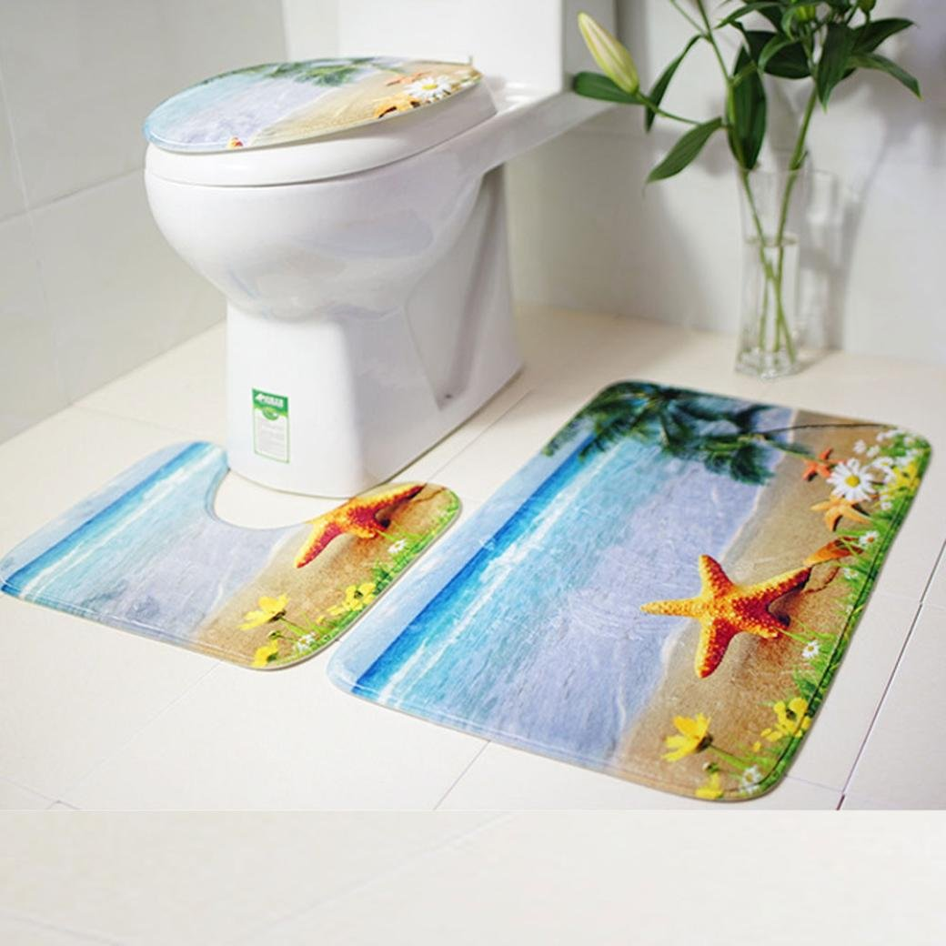 3PC Bath Mat Rug Set Bathroom Non-Slip Floor Mat Ocean Style Pedestal Rug + Lid Toilet Cover + Bath Mat Makaor (75cmx44cm/44cmx39cm/40cmx38cm, Pattern B)