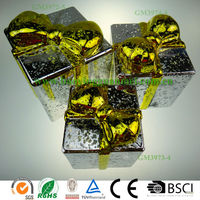 Wholesale New year lighted silver glass square gift box for christmas