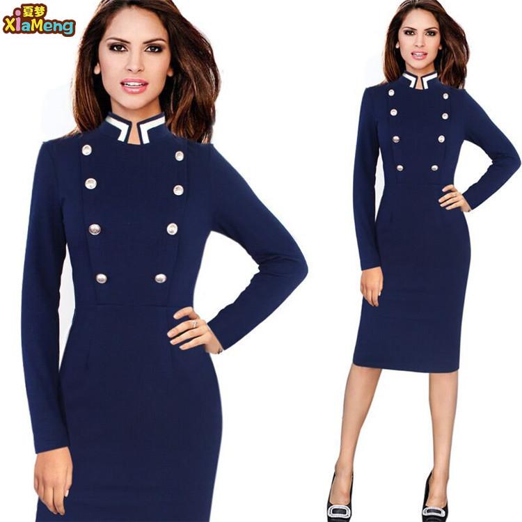 2019 New style long sleeve ladies office wear dresses dress formal фото