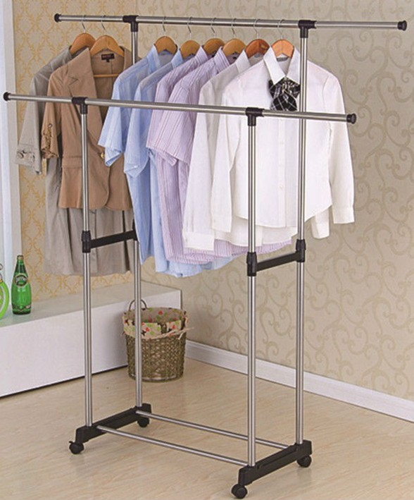 Honey-can-do chrome/black expandable kids garment rack white
