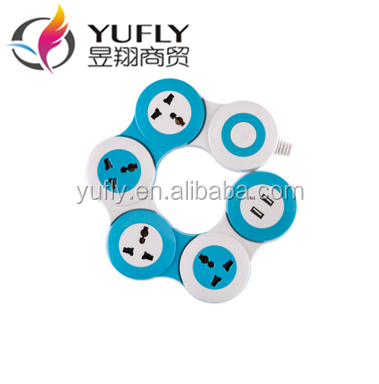 2015 hot sale 4 way 2 usb outlet universal power strip extension socket