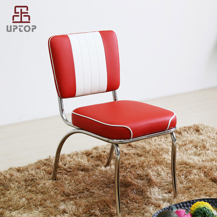Dinning room furniture Retro American Diner Vinyl leather tubular metal chair