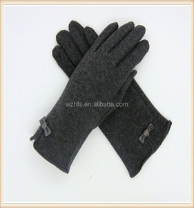 100% fleece Handmade Grey Outdoor Horse Ridding Gloves For Ladies