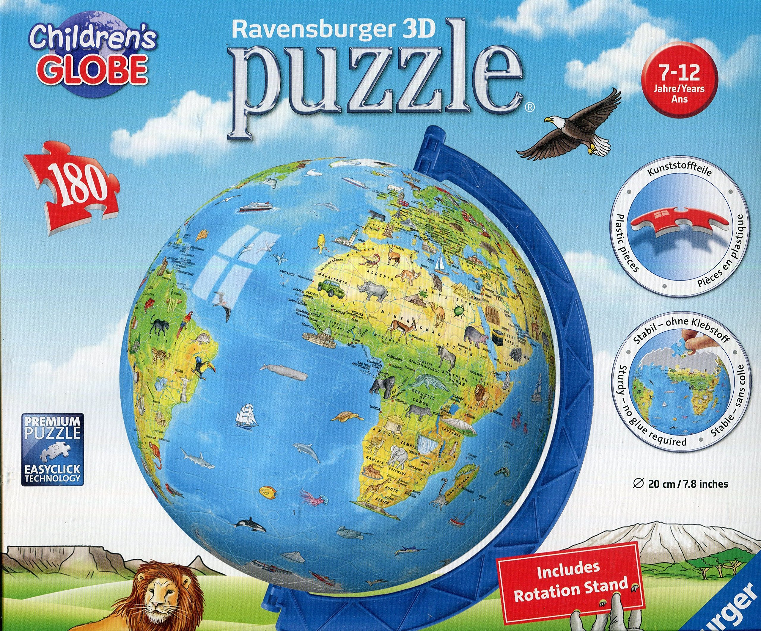 cc0ba202a95 Get Quotations · Ravensburger Children s World Globe 180 Piece 3D Jigsaw  Puzzle for Kids and Adults - Easy Click