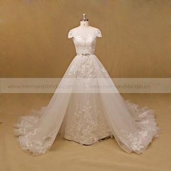 Alibaba Detachable Train Long Trail Wedding Dress