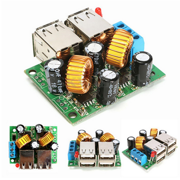 4-USB Port A5268 Step Down Power Supply Converter Board Module DC 12V 24V 40V to 5V 5A For MP3/MP4 Phone Car Equipment