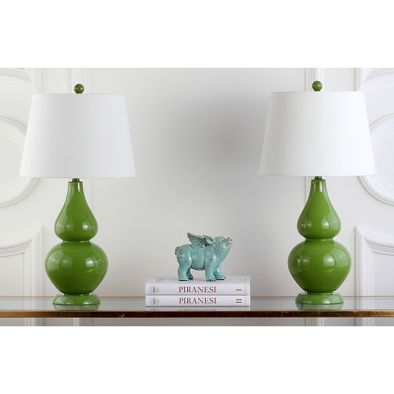Safavieh Lighting Collection Cybil Double Gourd Table Lamp, Fern Green, Set of 2