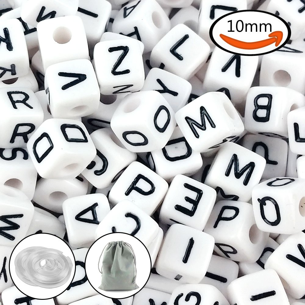 JPSOR 300Pcs 10mm Acrylic White Cube Letter Beads Alphabets Beads for Bracelets and Jewelry Making, with 2 Threads & Pouch