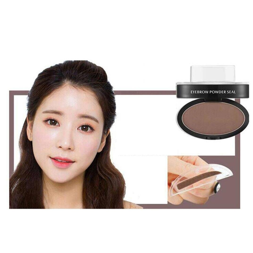 LandFox Brow Stamp Powder Delicated Natural Perfect Enhancer Straight United Eyebrow powder (Coffee)