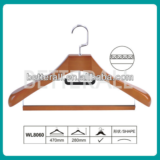Deluxe wood hanger for coats