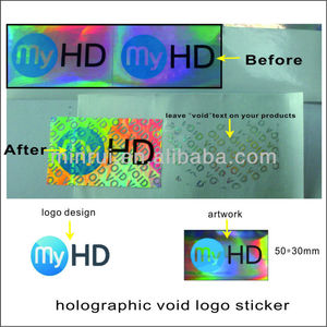 Custom simple holographic void logo sticker,laser void label for DVD box seal