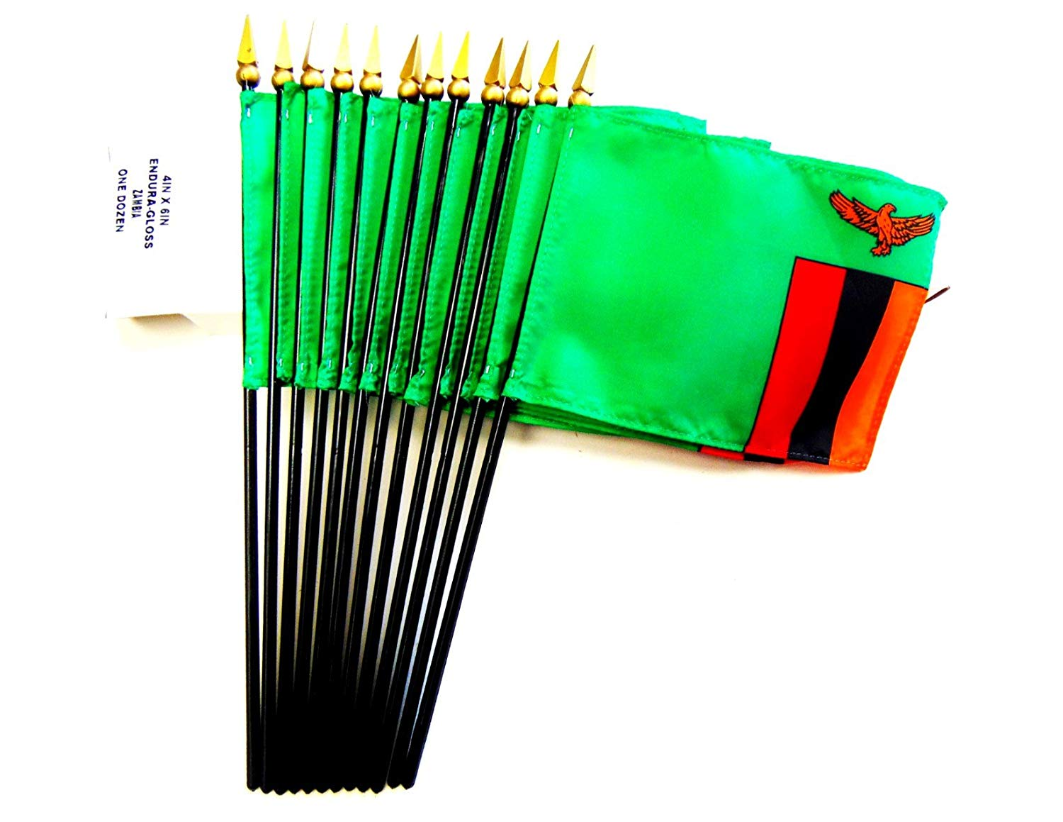 "MADE IN USA!! Box of 12 Zambia 4""x6"" Miniature Desk & Table Flags; 12 American Made Small Mini Zambian Flags in a Custom Made Cardboard Box Specifically Made for These Flags"