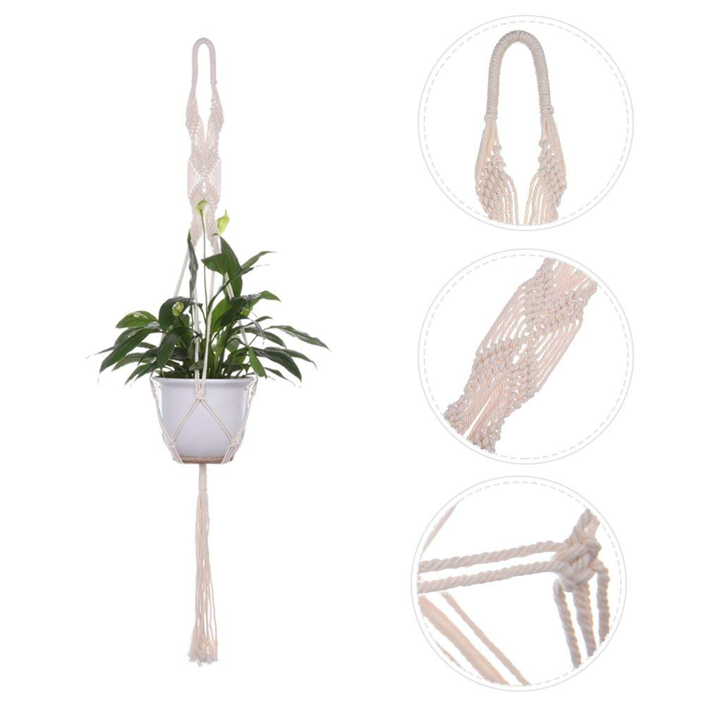 Sundlight Set of 2 Macrame Plant Hanger Handmade Cotton Rope Hanging Ceiling Plant Holder Wall Art without Pots,100cm/39.3""