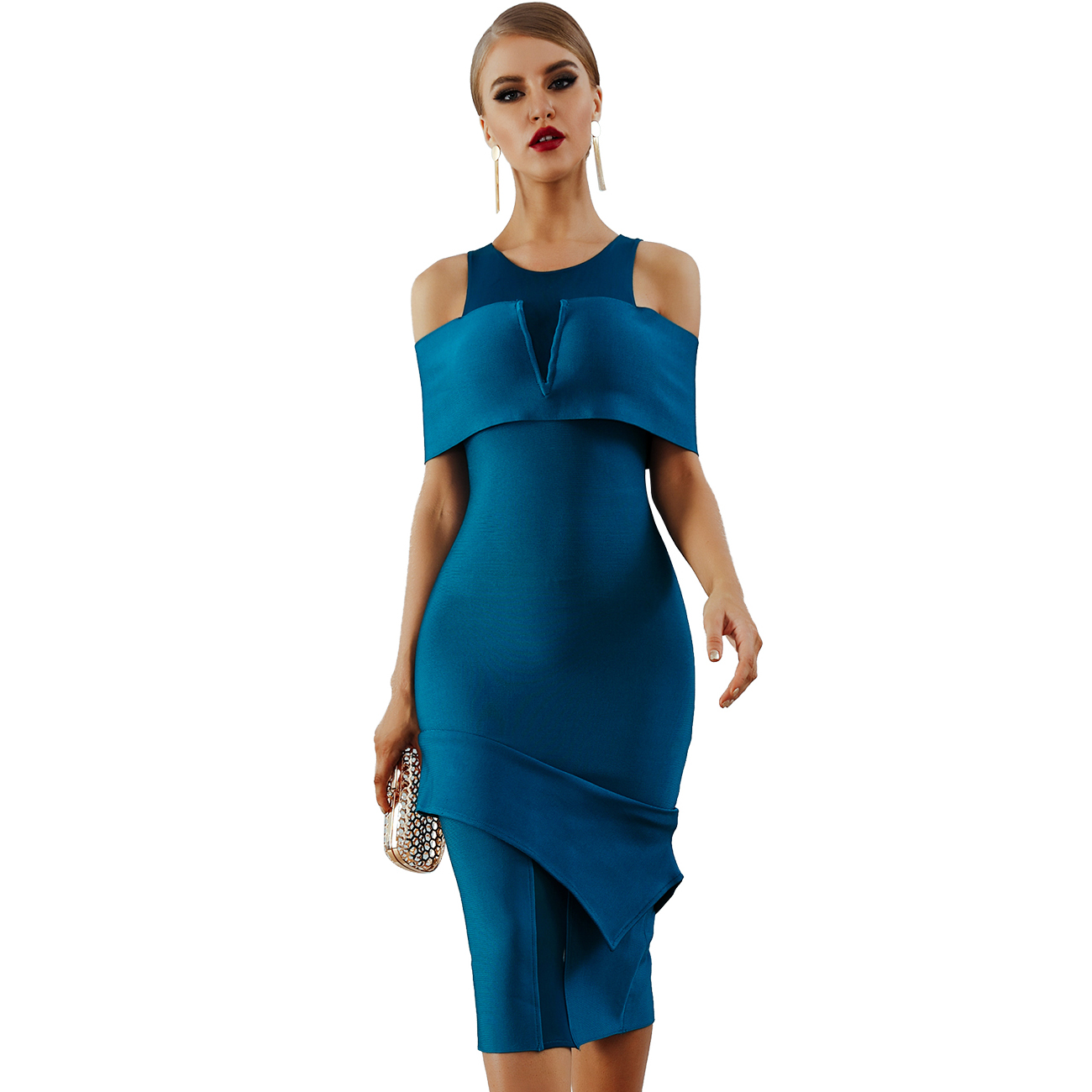 Alibaba.com / New Summer Women Bandage Dress Vestidos Sexy Off Shoulder Hollow Out Midi Bodycon Clubwears Celebrity Evening Party Dress
