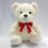 ODM OEM stuffed toy plush white bear / red bowtie ribbon round neck stuffed bear toy