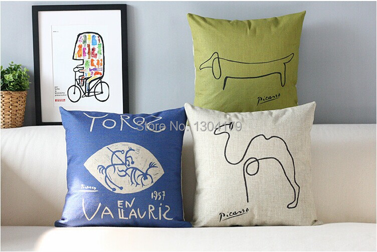 Picasso sketch Decorative Pillow Covers creative minimalist Cushion Cover retro blue and yellow home decor  Free Shipping