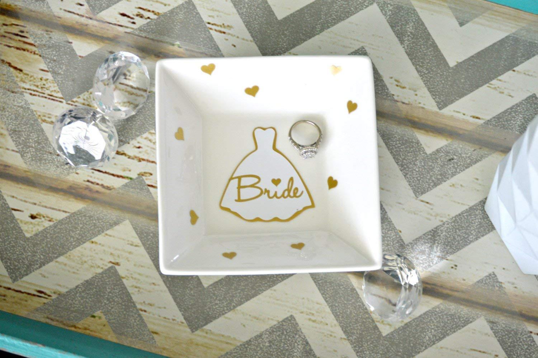 Bride Ring Dish, Bride Jewelry Dish, Engagement Ring Dish, Bridal Shower Gift, Jewelry Dish, Wedding Ring Holder, Custom Wedding Ring Dish