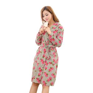 3846561360 printed bathrobe short polar fleece robe