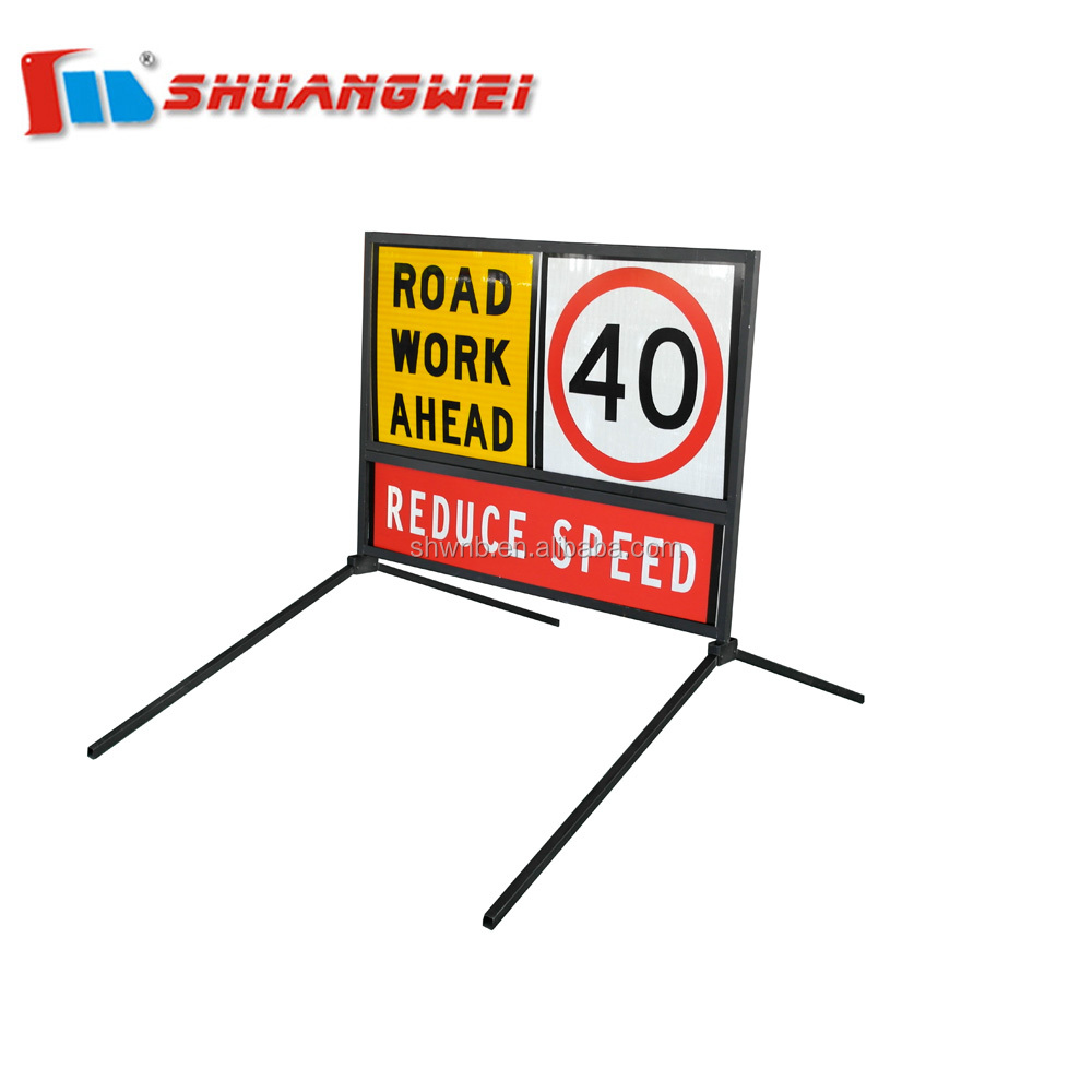Hot sale Powder coated Black multi-message warning road safety traffic sign