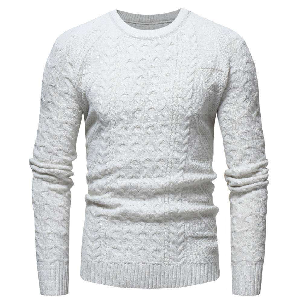 NRUTUP Men's Outerwear Jackets & Coats, Men's Active Sweatshirts Casual O-Neck Knit Pattern Sweater Top
