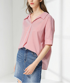 92260780e10edc New fashion v - neck red striped shirts oversized half sleeve blouse women  tall tops