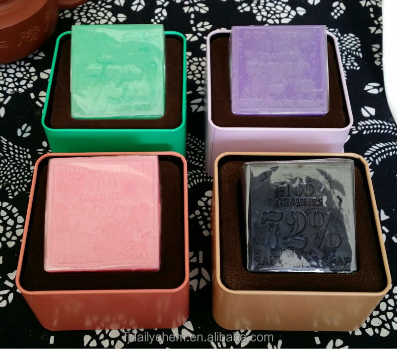 Natural quality black skin soap with tin box packed