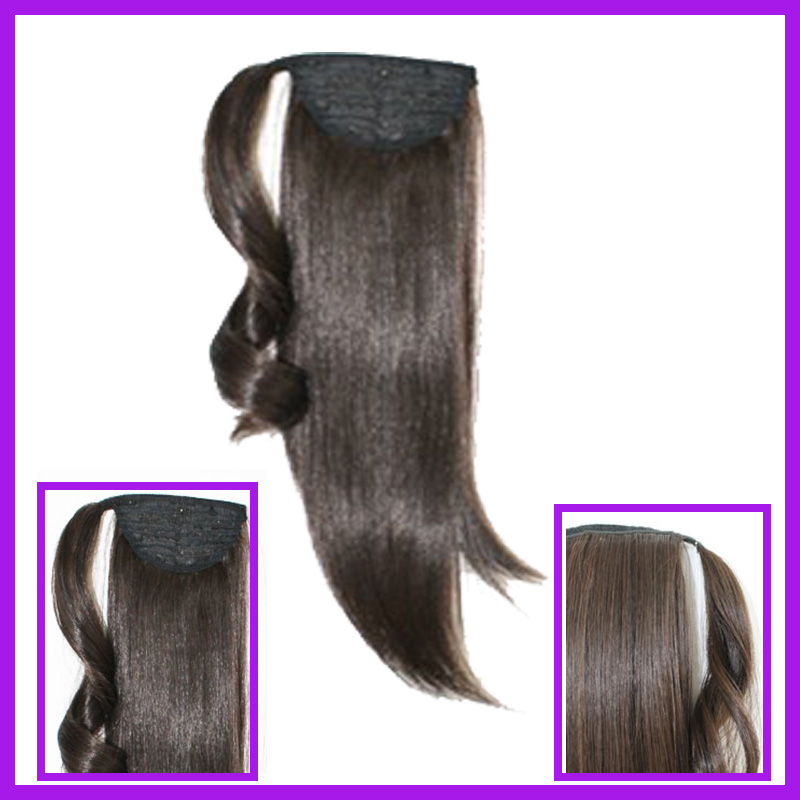 8A natural black brazilian virgin hair wrap around human hair ponytail hair extension for black women