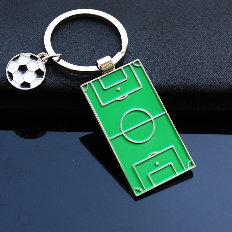 MOQ 72PCS Football Field Keychain Soccer Fans Souvenir Gift Players Pendants Keyrings Accessory Jewelry Gift Rings Free Shipping