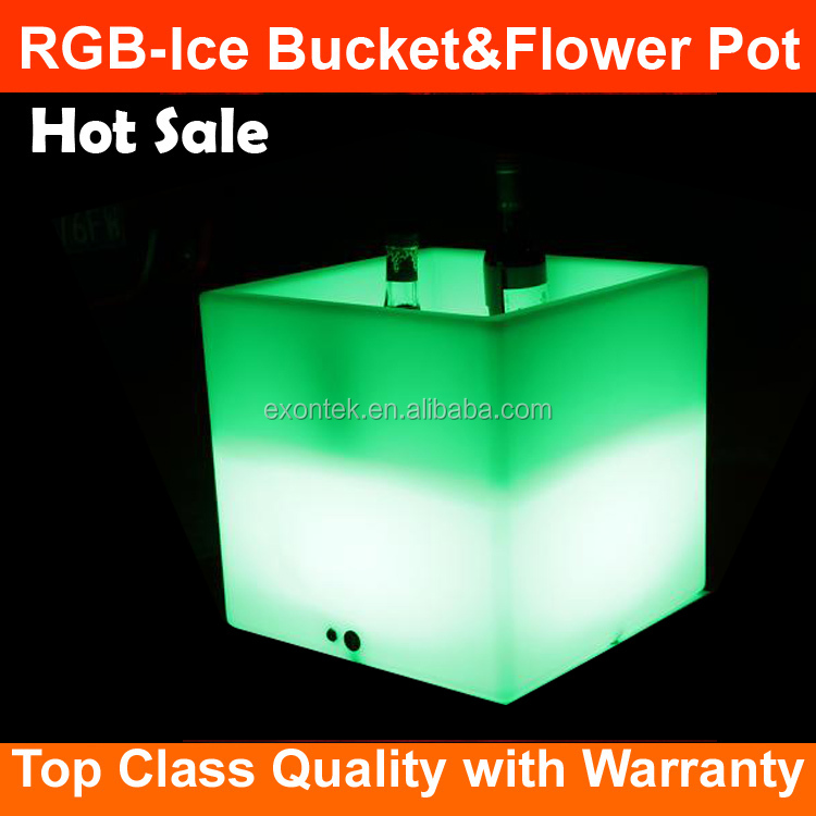 Factory Wholesale top seller lighted flower pots led flashing ice cube bucket Plastic PE RGB Remote control Glowing 16 colors