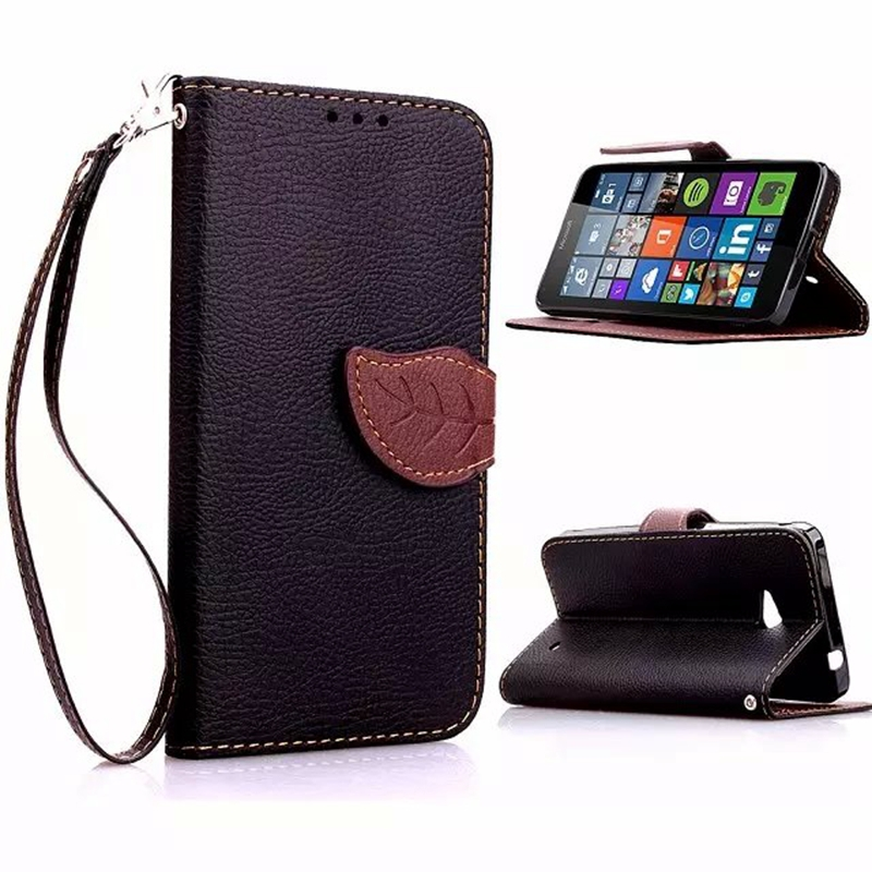 cheaper 94534 94250 Leaf Clasp PU Leather Case for Microsoft Lumia 640 with Stand Function 2  Card Holder Wallet Case Cover for Nokia Lumia 640 Case