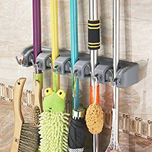 Bekith Mop and Broom Holder, 5 Position with 6 Hooks Garage Storage Holds up to 11 Tools, Wall Mounted Garden Tool Storage Tool Rack Storage & Organization for Your Home, Closet, Garage and Shed Model: Bekith (Hardware & Tools Store)