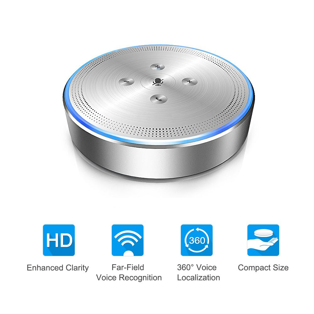 Conference Call Speaker - eMeet OfficeCore M1 Silver Wireless Conference Speakerphone for 6 - 8 People 360° Audio Pickup Conference Call Speaker 26ft Far-field Voice Recognition 360° Audio Pickup