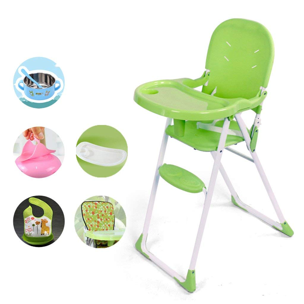 Portable Baby Highchair, Baby Highchair Feeding Lounge Chair, Plastic Folding Children Chair, Multifunctional Dining Chair, L41cmW62 H98cm ( Color : Green )
