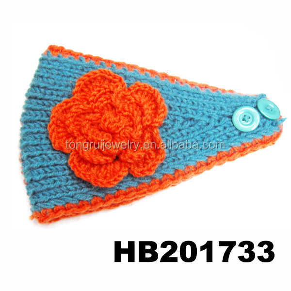 Women New Bow Free Knitted Headband With Button Closure Patterns