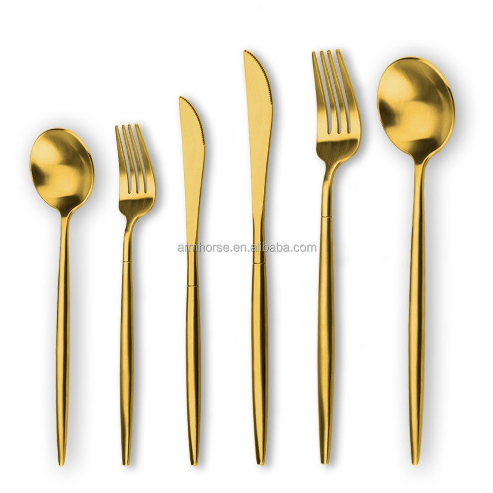 gold plated flatware wholesale wedding plates set