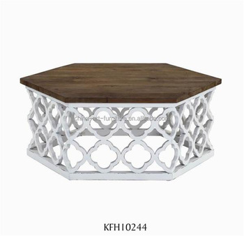 solid wood coffee table with white carved base hexagon sofa table antique living room